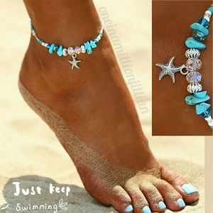 Jewelry - Starfish & Turquoise Anklet/Ankle Bracelet
